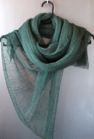 Leinen Schal gestreifte Unisex Grün - Handarbeit kaufen
