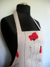 Leinen Schürze Küchenwäsche Schürze Gardening natürlichen grauen Blumen rote Mohnblumen  - Handarbeit kaufen
