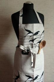 Leinen Schürze Küchenwäsche Schürze Gardening natürlichen grauen Vögel Schluckt  - Handarbeit kaufen