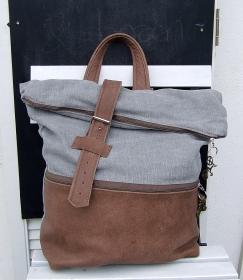 Vintage Leinen-Rucksack braun mit Naturleder kombiniert