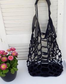 Netzbeutel schwarz in Leder  modisch Strandbeutel  - Handarbeit kaufen