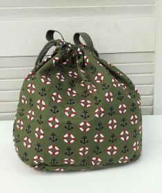 Innenbeutel für Leder Netztasche in olive /maritim - Handarbeit kaufen