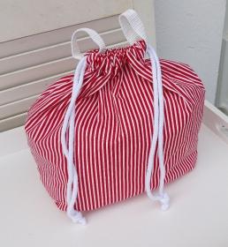 Innenbeutel für Leder Netztasche rot/weiß gestreift