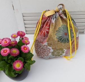 Innenbeutel für Leder Netztasche but mit Blumen - Handarbeit kaufen