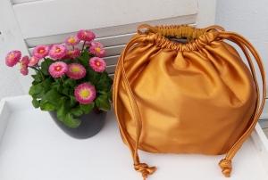 Innenbeutel für Leder Netztasche zum Wenden gelb - Handarbeit kaufen