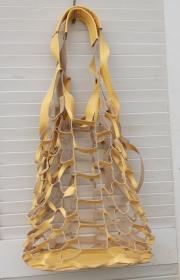Netzbeutel Leder gelb/kurkuma modisch Strandbeutel   - Handarbeit kaufen